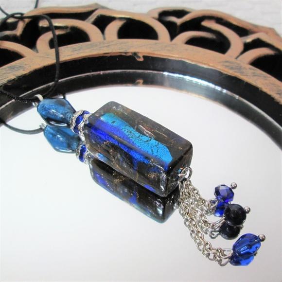 Dichroic Glass & Crystals Tassel Pendant